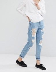 Dr. Denim Dr Mom Jeans With Distressing Light Stone Wash Blue