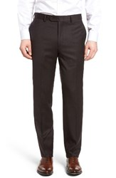 Bensol Men's Big And Tall Flannel Wool Trousers Brown