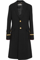 Givenchy Coat In Velvet Trimmed Black Wool Pique