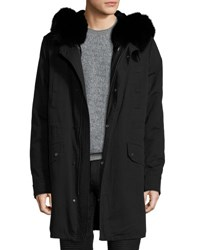 Yves Salomon Canvas Parka W Tonal Fur Lining Black