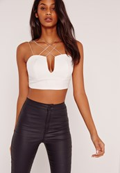 Missguided Cross Over Straps V Neck Bralet White White