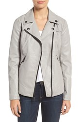 Guess Women's Faux Leather Moto Jacket Light Grey
