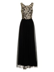 Chi Chi London Baroque Style Embroidered Maxi Dress Black