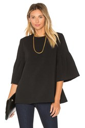 Edit Long Sleeve Flute Sleeve Top Black