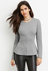 Forever 21 Cotton Blend Peplum Jacket Heather Grey