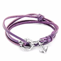 Anchor And Crew Grape Purple Clyde Silver Leather Bracelet Pink Purple