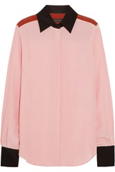 Jonathan Saunders Bailey Color Block Washed Crepe Shirt Pink