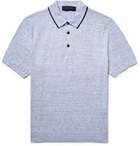 Rag And Bone Lucas Contrast Tipped Knitted Melange Cotton Polo Shirt Light Blue