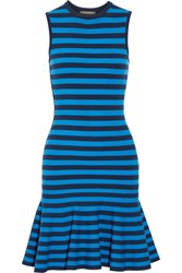 Michael Kors Collection Striped Stretch Knit Mini Dress Blue