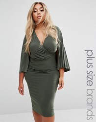 Club L Plus Wrap Front Cape Midi Dress Khaki Green