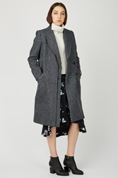 Proenza Schouler Speckled Tweed 2 Button Long Coat Black Teal Multi