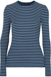 Atm Anthony Thomas Melillo Striped Ribbed Stretch Micro Modal Top Storm Blue