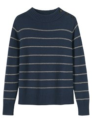 Toast Stripe Wool Cotton Jumper Dark Navy Pale Sandstone