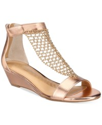 Thalia Sodi Tibby Mesh Embellished Wedge Sandals Only At Macy's Women's Shoes Rose Gold