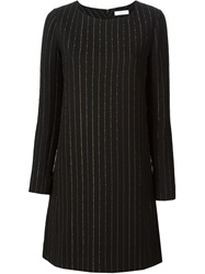 Chloe Chloe Long Sleeve Pin Stripe Dress Black
