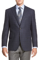David Donahue 'Conner' Classic Fit Plaid Wool And Cashmere Sport Coat Navy