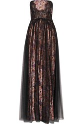 Mikael Aghal Layered Embroidered Tulle And Lace Gown Multi