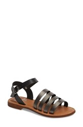 Bos. And Co. Isle Sandal Pewter Black Leather