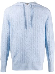 N.Peal Herringbone Hooded Jumper Blue