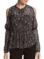 Elie Tahari Annette Silk Cold Shoulder Blouse Black Combo