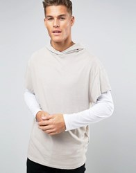 New Look Hooded T Shirt In Stone Stone
