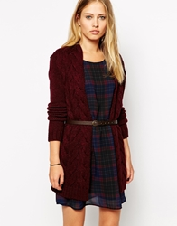 Pepe Jeans Cable Knit Cardigan With Belt Red