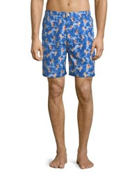 Peter Millar Fish Bowl Swim Trunks Bright Blue