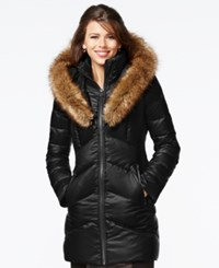 Kensie Faux Fur Trim Shawl Collar Quilted Coat Black