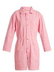 Bliss And Mischief Spread Collar Wide Leg Cotton Denim Playsuit Pink