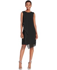 Styleandco. Style And Co. Draped Chiffon Shift Dress Only At Macy's Black