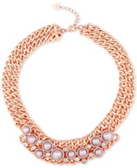 Guess Rose Gold Tone Imitation Pearl Double Chain Collar Necklace