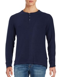 Velvet By Graham And Spencer Solid Henley Pullover Navy