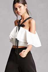 Forever 21 Endless Rose Off The Shoulder Top White