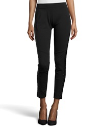 Neiman Marcus Quilted Faux Leather Inset Ponte Leggings Onyx