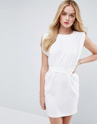 Asos Belted Mini Dress With Split Cap Sleeve And Pencil Skirt Ivory White