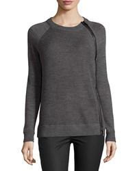 Vince Leather Trim Textured Wool Sweater Thunder