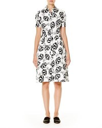 Carolina Herrera Umbrella Print Short Sleeve Shirtdress Black White Black White