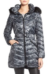 Women's Laundry By Shelli Segal Quilted Print Coat With Faux Fur Trim