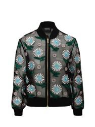 Markus Lupfer Ditsy Daisy Embroidered Bomber Jacket Black