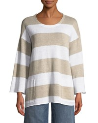 Eileen Fisher Organic Linen Striped Knit Top Petite Whitenatural