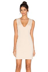 Blaque Label Plunging Neckline Mini Dress Beige