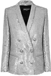 Balmain Double Breasted Matte Sequined Crepe Blazer Silver