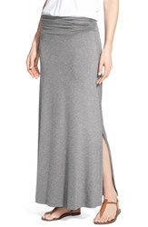 Bobeau Ruched Waist Side Slit Maxi Skirt Heather Charcoal