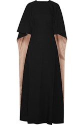 Valentino Cape Back Silk Cady Gown Black