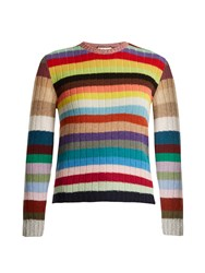 Gucci Long Sleeved Striped Cashmere Blend Sweater Multi