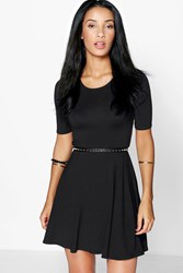 Boohoo Wrap Open Back Skater Dress Black