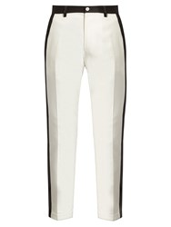 Dolce And Gabbana Side Stripe Stretch Cotton Cropped Trousers White Multi