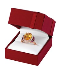 Le Vian 14K Strawberry Gold Cinnamon Citrine Ring With Raspberry Rhodolite And White Topaz