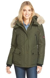 Pendleton Women's 'Expedition' Genuine Coyote Fur Trim Down Parka Olive