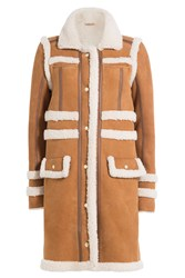 Carven Sheepskin Coat With Shearling Camel
